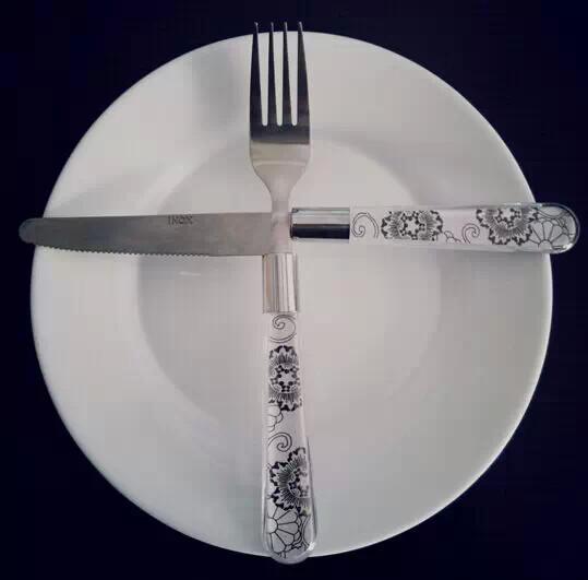 表示等下一道菜的刀叉摆放方式