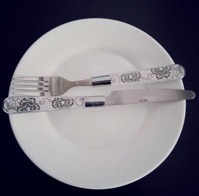 表示喜欢这道菜的刀叉摆放方式