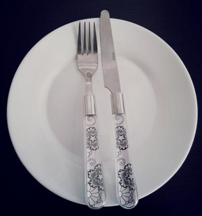 表示吃好了不能再吃的刀叉摆放方式