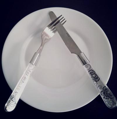 表示差评的刀叉摆放方式