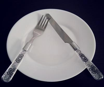 表示还没吃完的刀叉摆放方法